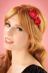 Alice Satin Hair Band with Roses Années 50 en Rouge