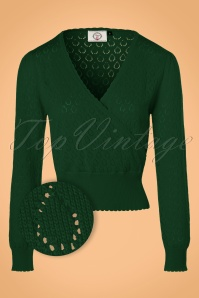 50s Instinct Wrap Top in Forest Green