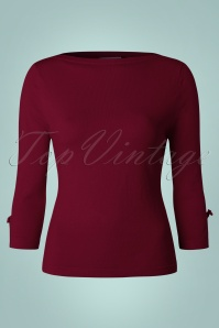 Banned Addicted Boatneck Bow Top in Bordeaux 113 20 22285 20151202 0003w