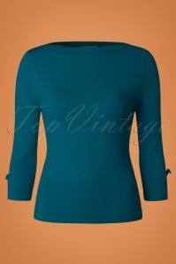 Banned Addicted Boatneck Bow Top in Teal 113 30 22287 20151202 0003w