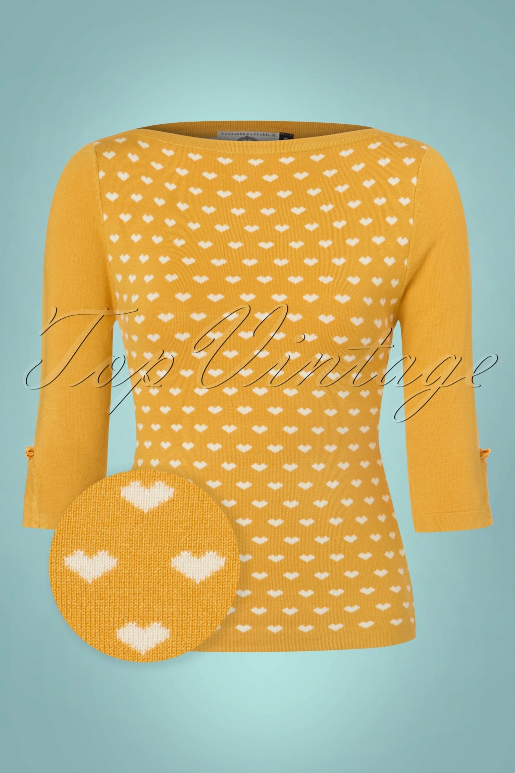 1950s Style Sweaters, Crop Cardigans, Twin Sets 60s Charming Heart Knit Sweater in Mustard £36.08 AT vintagedancer.com