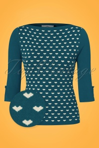Dancing Days by Banned Addicted Sweater in Teal with Hearts 113 39 22296 20170717 0002wv