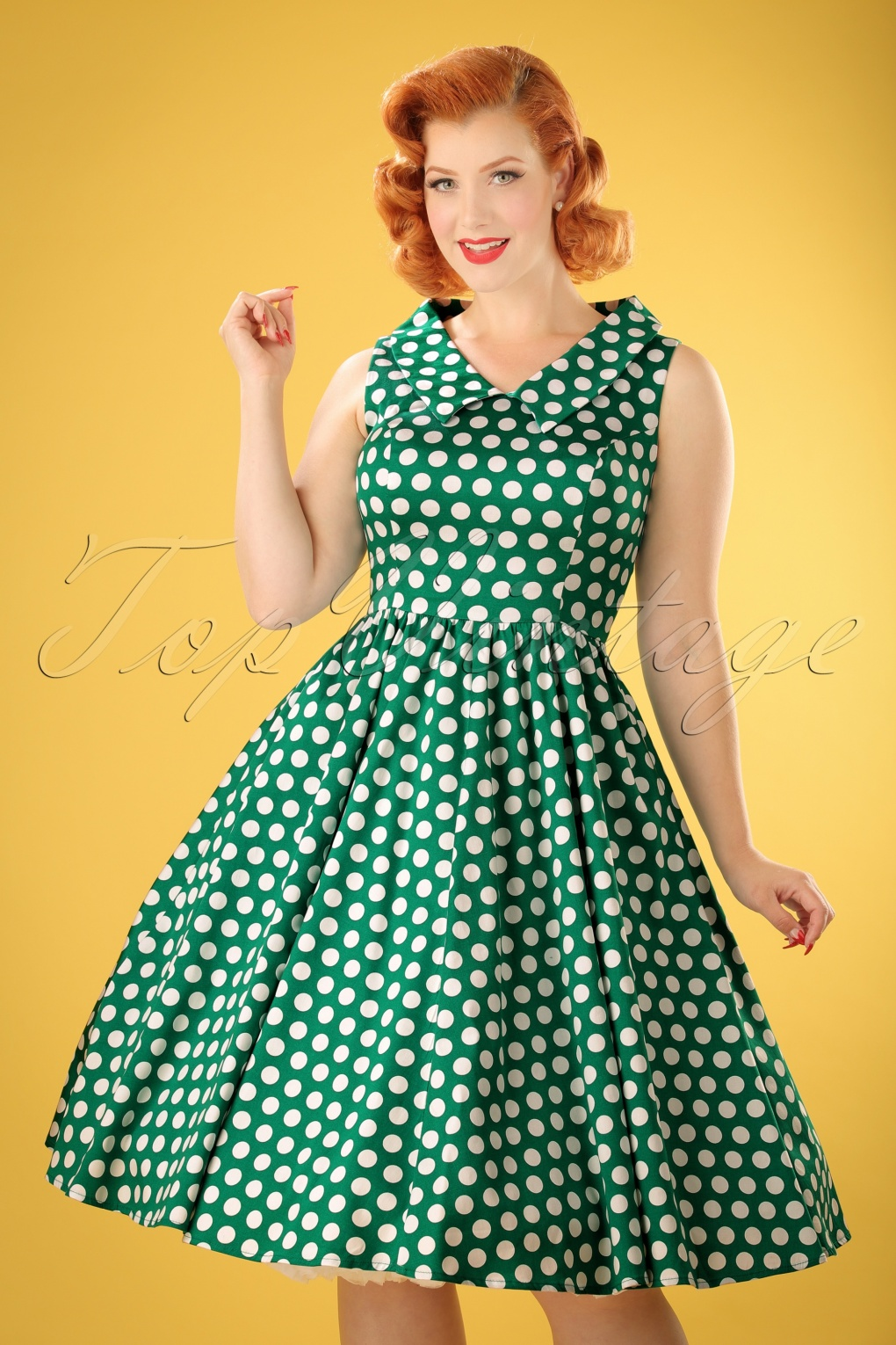 1940s Pinup Dresses for Sale 50s Tracy Polkadot Swing Dress in Dark Green £24.81 AT vintagedancer.com