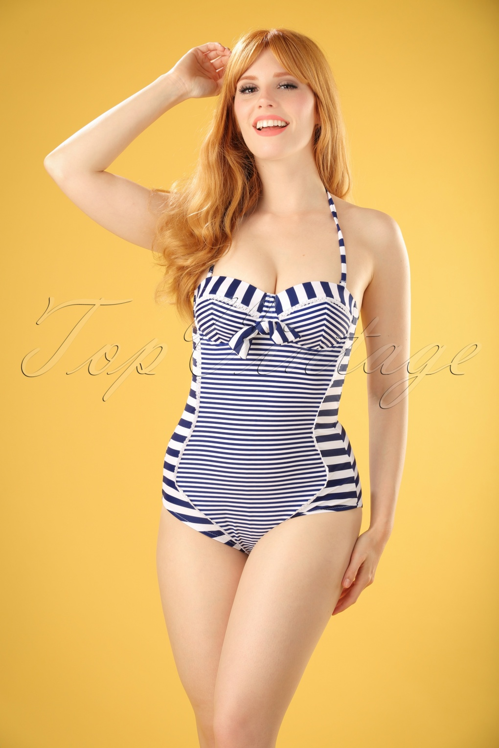 1960s Inspired Fashion: Recreate the Look 50s Nancy Stripes Halter Swimsuit in Navy and White £35.06 AT vintagedancer.com