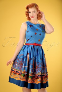 50s Audrey Fairground Swing Dress in Blue