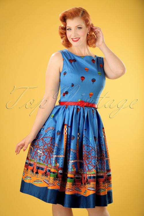 Lindy Bop Audrey Blue Fairground Dress 102 39 22208 20170530 0006w