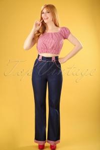 J'adore Trousers Années 50 en Bleu Marine