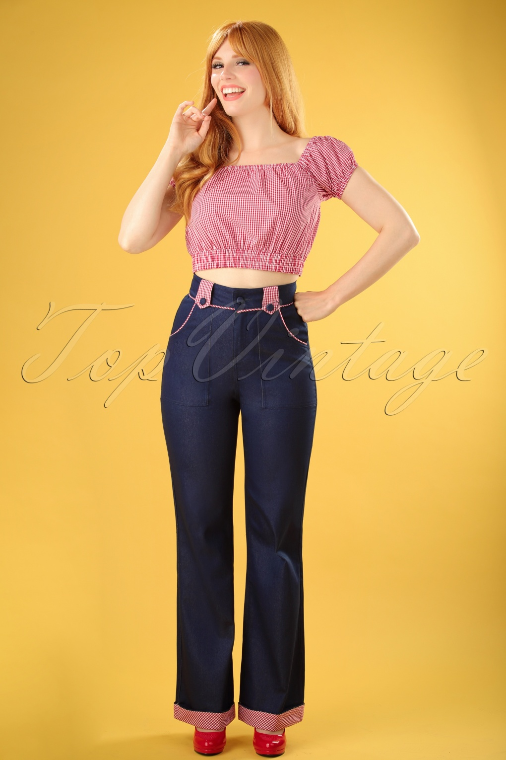 1950s Pants History for Women 50s Jadore Trousers in Navy £22.72 AT vintagedancer.com