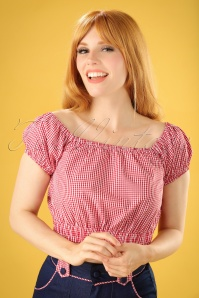 50s All Mine Gingham Top in Red