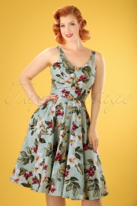 50s Tahiti Floral Swing Dress in Mint Green