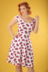 50s Emma Watermelon Swing Dress in White