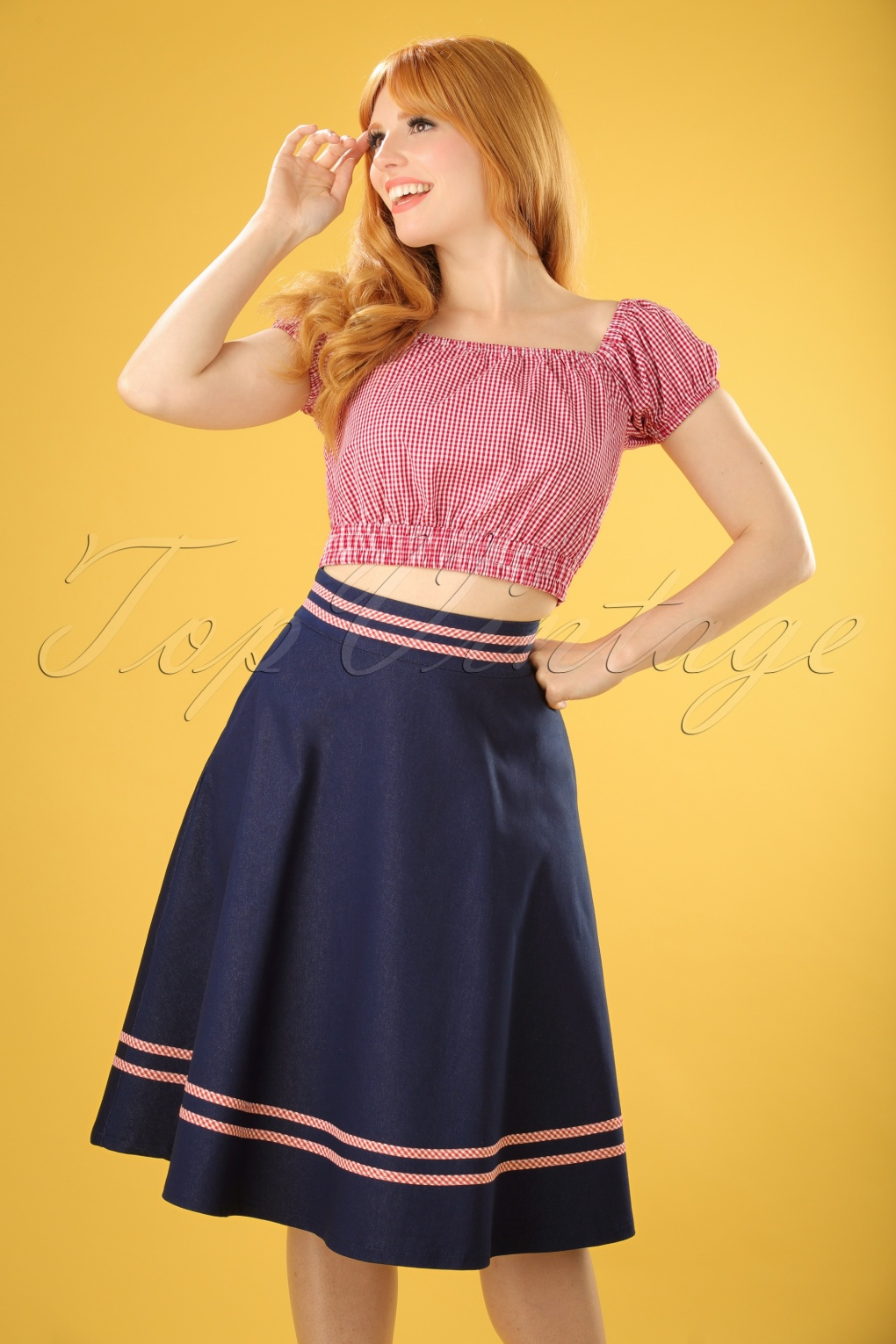1950s Skirts; Pinup, Poodle, Pencil, Swing & Circle Skirts 50s Jadore Swing Skirt in Navy £22.73 AT vintagedancer.com