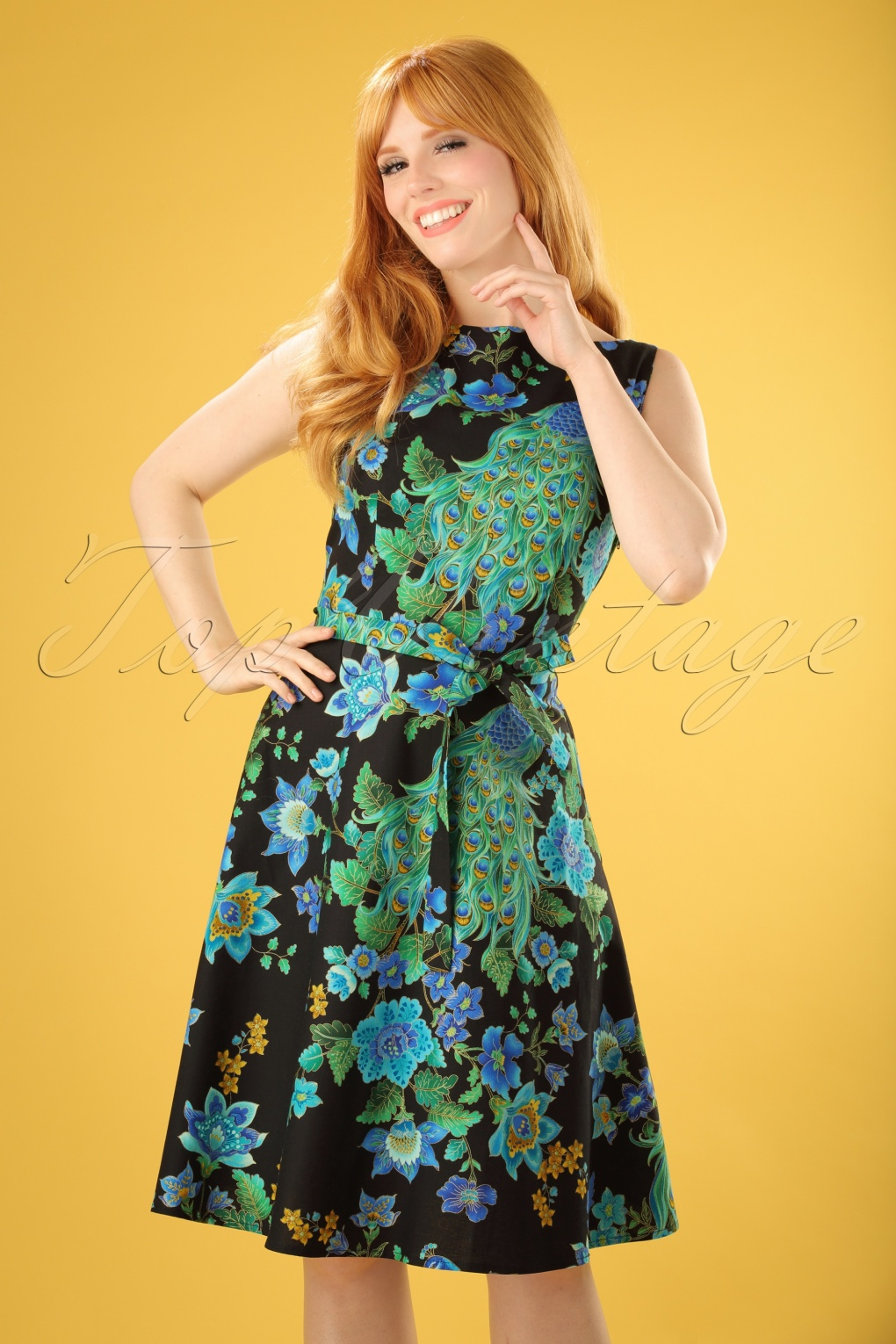 1960s Mad Men Dresses and Clothing Styles 60s Monique Royal Peacock Dress Black £110.67 AT vintagedancer.com