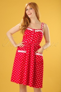 50s Corinna Polkadot Swing Dress in Bright Red