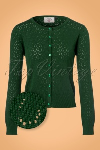 Banned Retro Watch Out Cardigan Années 50 en Vert Sapin