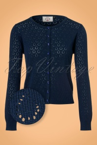Banned Retro 50s Watch Out Cardigan in Night Blue