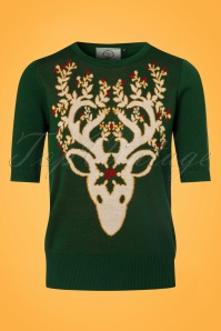 Dancing Days by Banned Ren Deer Sweater inForest Green 113 40 22354 20170717 0009w
