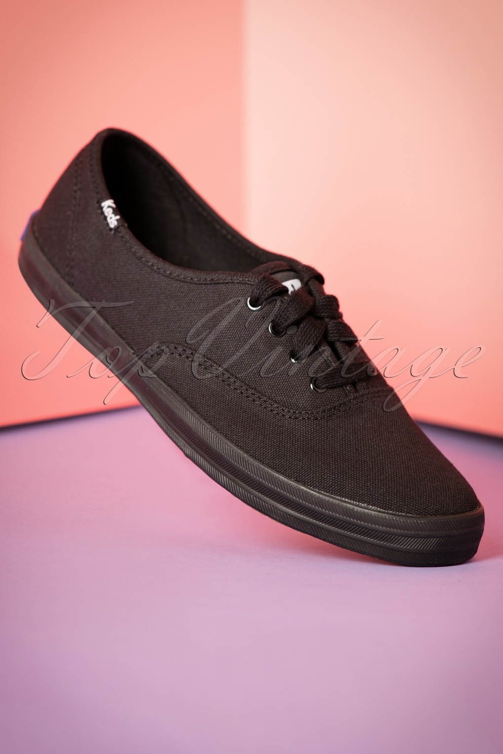 Retro Vintage Flats and Low Heel Shoes 50s Champion Core Text Sneakers in All Black £52.49 AT vintagedancer.com