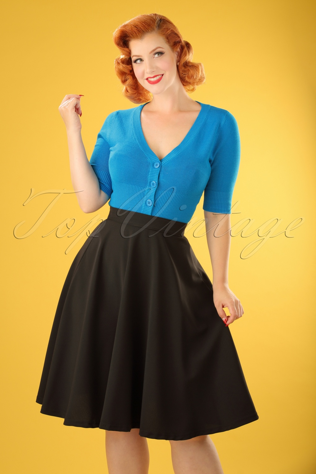 1950s Skirts; Pinup, Poodle, Pencil, Swing & Circle Skirts 50s High Waisted Thrills Skirt black swing £26.79 AT vintagedancer.com