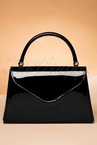 60s Lillian Lacquer Flap Bag in Black