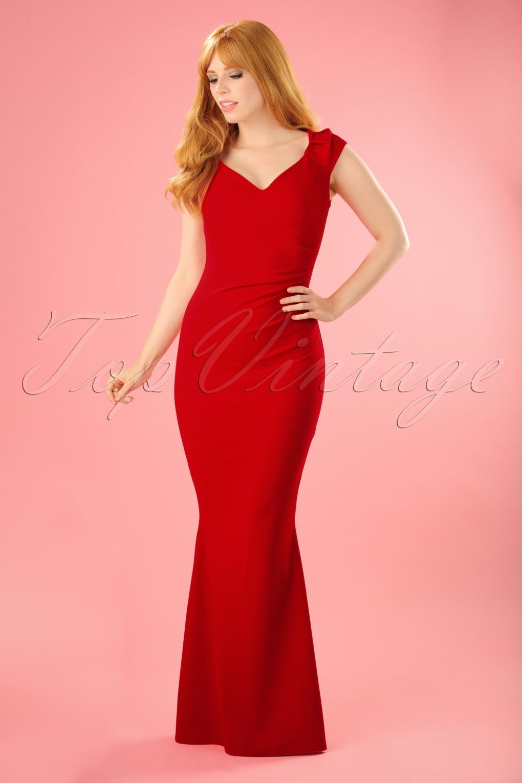 50s Rachelle Maxi Dress In Red