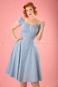 50s Dolores Polkadot Doll Swing Dress in Dusky Blue and White
