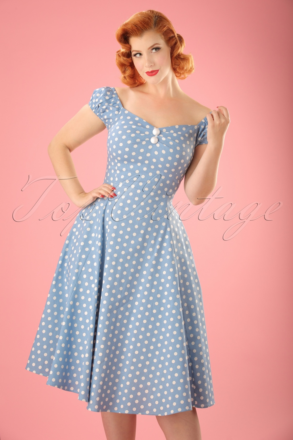 1940s Pinup Dresses for Sale 50s Dolores Polkadot Doll Swing Dress in Dusky Blue and White £31.33 AT vintagedancer.com