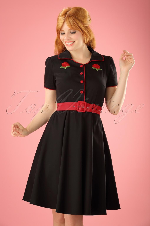 Rockabilly Dresses   Rockabilly Clothing   Viva 50s Sherry Roses Diner Dress in Black £45.99 AT vintagedancer.com