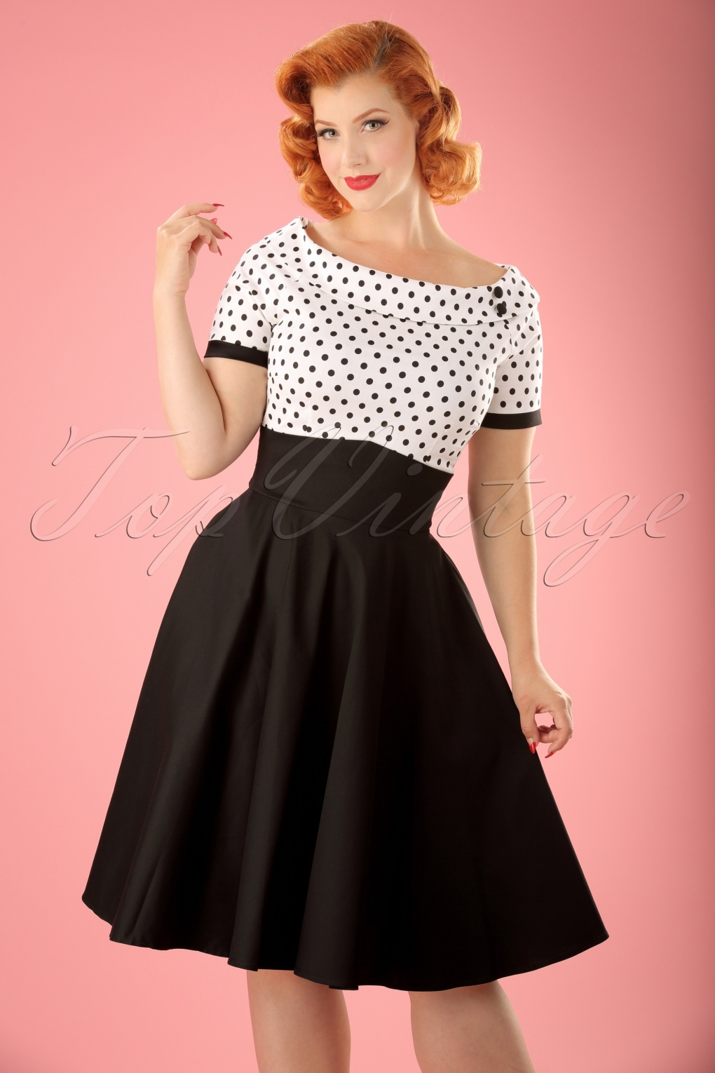 1940s Pinup Dresses for Sale 50s Darlene Polkadot Swing Dress in Black and White £45.45 AT vintagedancer.com