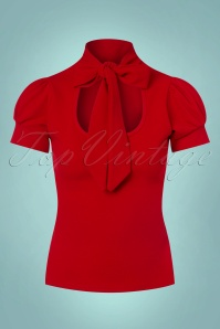 50s Bonnie Tie Neck Top in Lipstick Red
