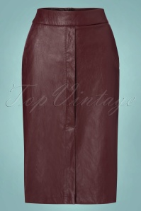 70s Ditte PU Pencil Skirt in Burgundy