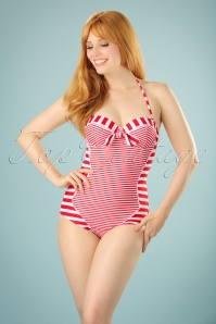 Belsira 50s Nancy Stripes Halter Swimsuit in Red and White