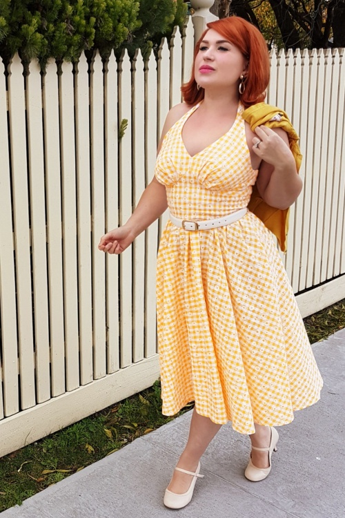 Miss Candyfloss Yellow Daisy Checked Swing Dress 102 89 20611 20170530 0    (003)