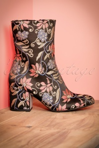 60s Kathy Floral Booties in Black