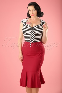 50s History Repeats Pencil Skirt in Wine Red