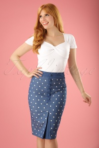 Banned Retro 50s Judy Hearts Pencil Skirt in Denim