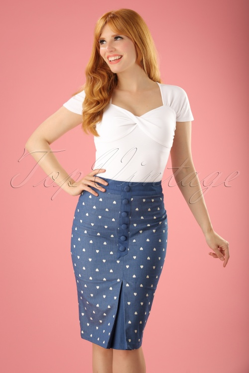Dancing Days by Banned Judy Hearts Denim Pencil Skirt 120 39 17853 20160330 00010W