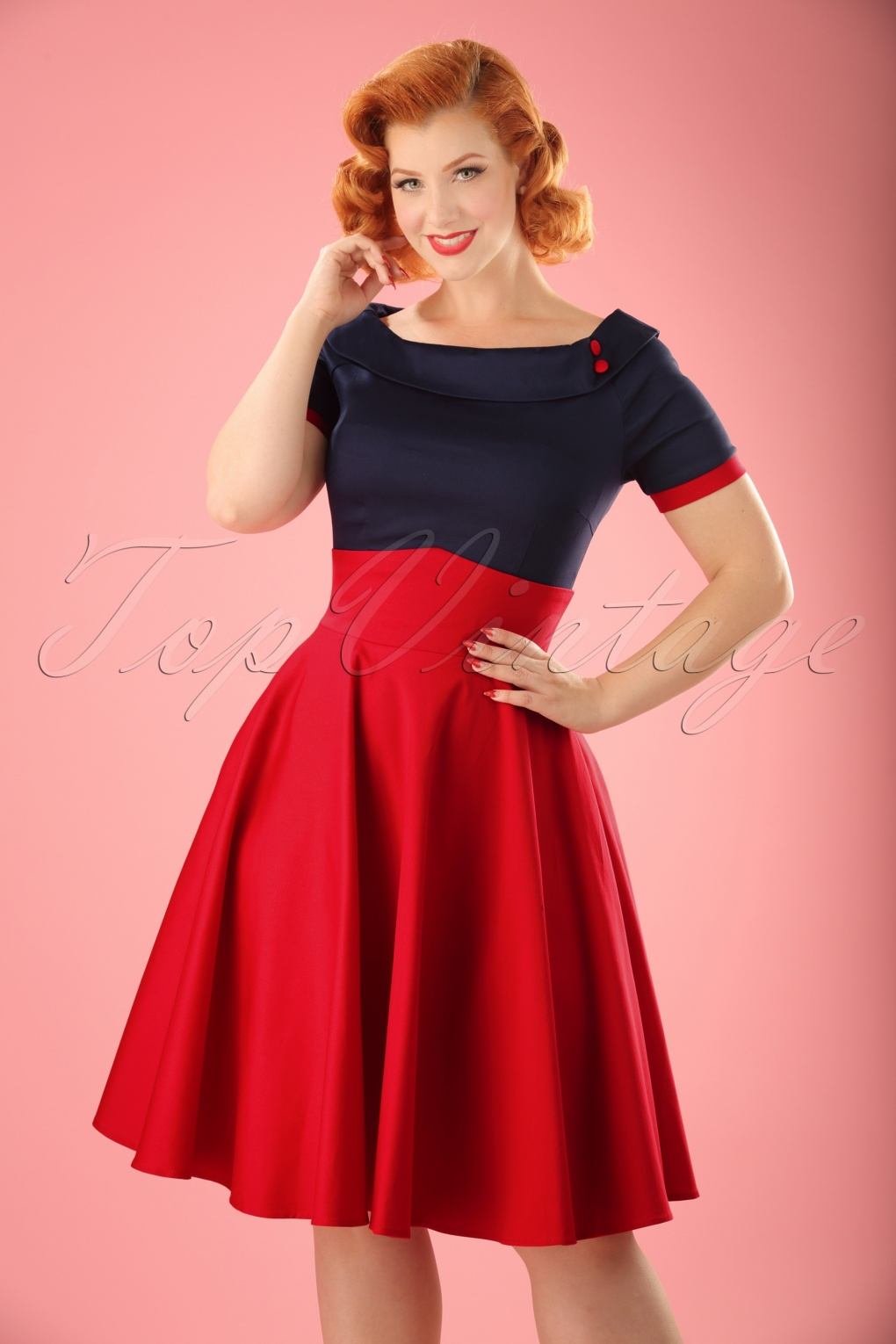 1940s Pinup Dresses for Sale 50s Darlene Swing Dress in Navy and Red £45.45 AT vintagedancer.com