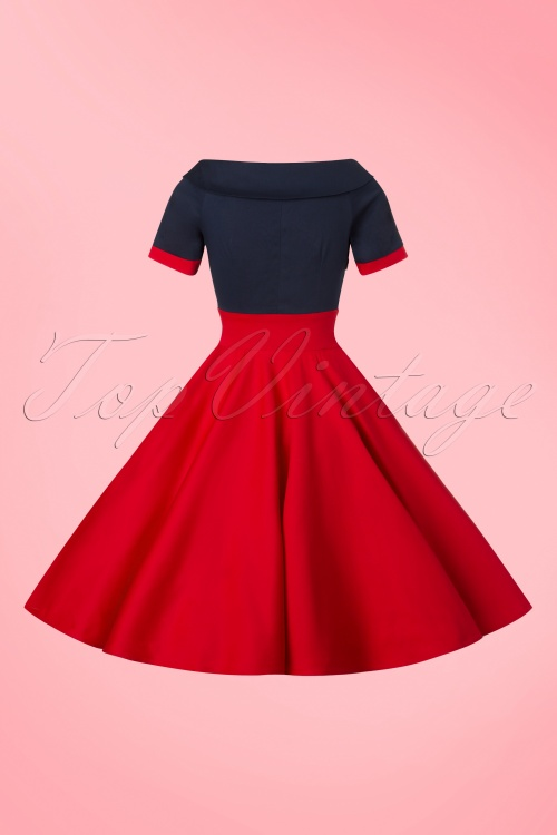 617a8ce0bee 50s Darlene Swing Dress in Navy and Red