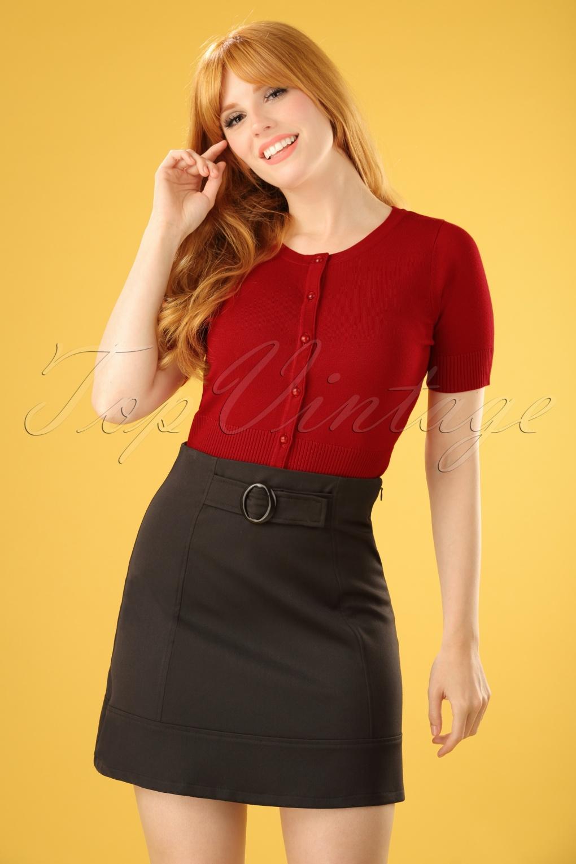 Retro Skirts: Vintage, Pencil, Circle, & Plus Sizes 60s Colleen A-Line Skirt in Black £14.88 AT vintagedancer.com