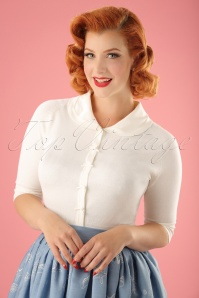 Banned Retro 40s April Bow Cardigan in Ivory White