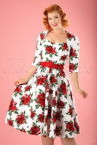 Bunny 50s Eternity Dress White Red Roses 104 59 12692 20140319 0008W