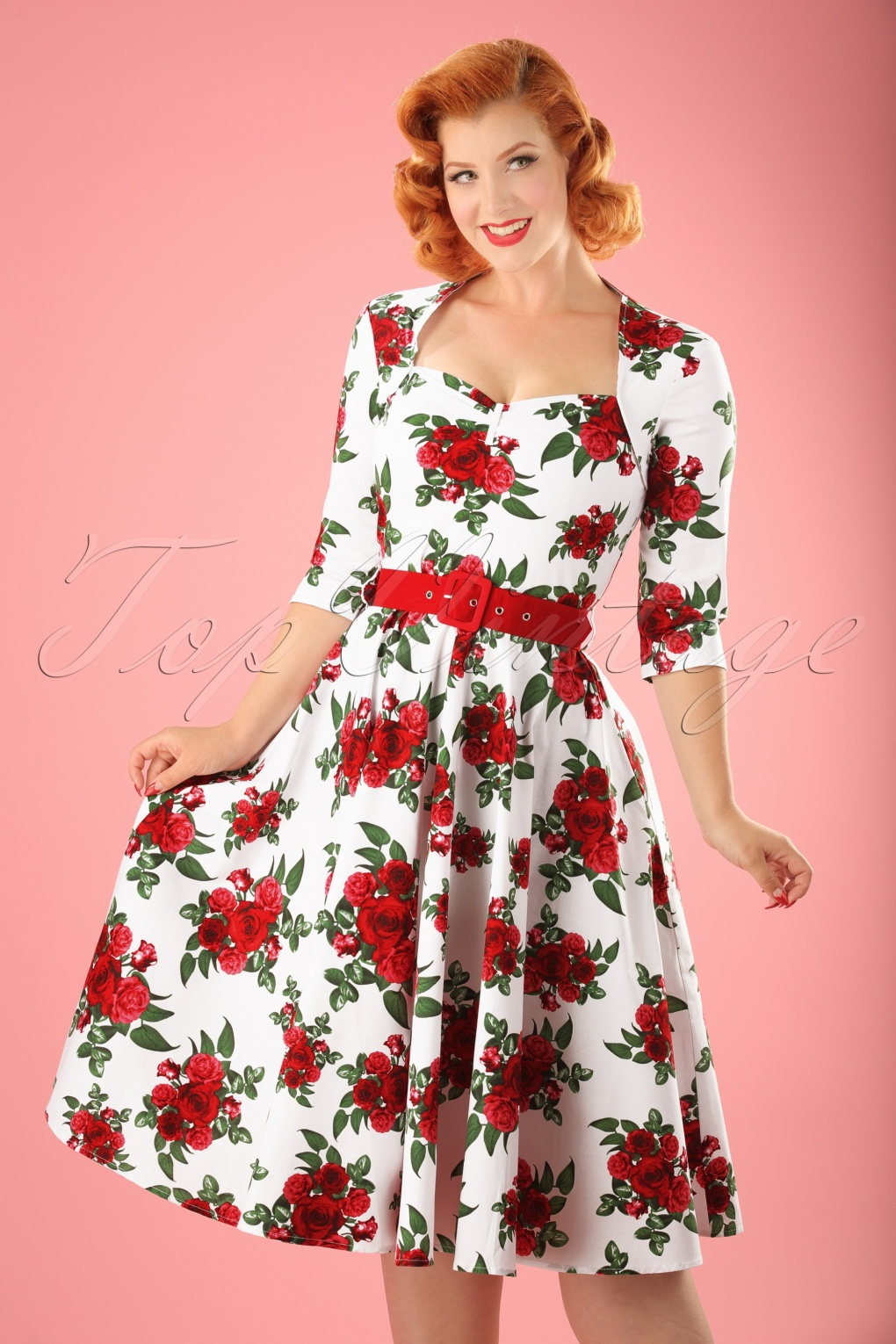 1940s Pinup Dresses for Sale 50s Eternity Roses Swing Dress in White and Red £62.68 AT vintagedancer.com