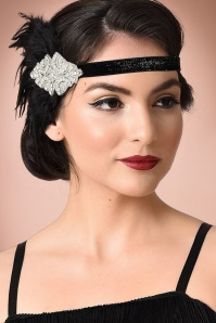 Unique Vintage 20s Gladys Coque Feather Headband in Black