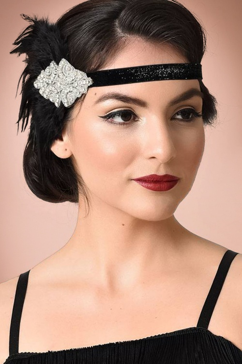 20s gladys coque feather headband in black - Bandeau annee 20 ...