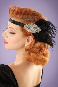 Unique Vintage Feather and rhinestone headband 208 10 22212 06272017 model01W