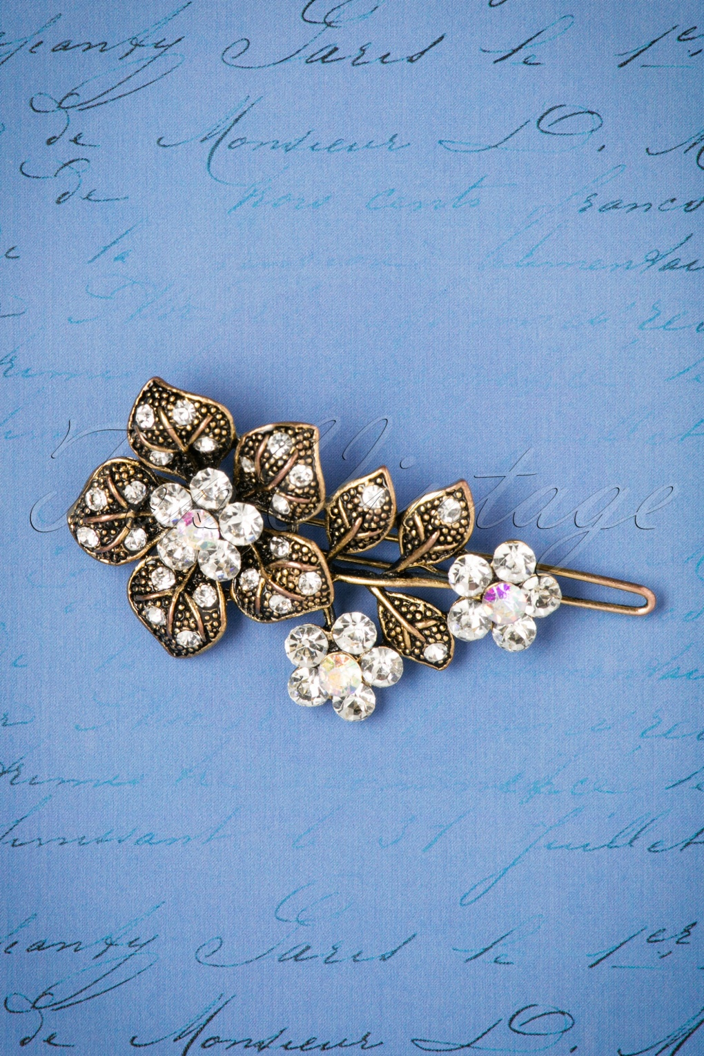 New 1920s Costume Jewelry- Earrings, Necklaces, Bracelets 20s Bouquet Of Roses Hair Clip in Gold £13.50 AT vintagedancer.com