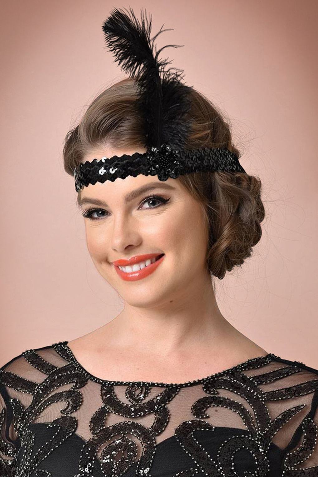 New 1920s Costume Jewelry- Earrings, Necklaces, Bracelets 20s Feather and Sequins Headband in Black £18.00 AT vintagedancer.com