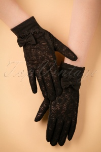 40s Ruth Lace Gloves in Black