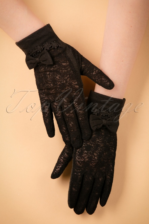 Unique Vintage Lace Bow Gloves in black 250 10 22214 07062017 004W